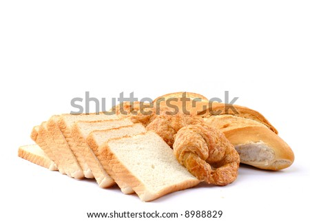 Fresh Breads from bakery on white background .