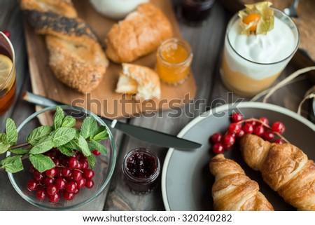 fresh breakfast - stock photo