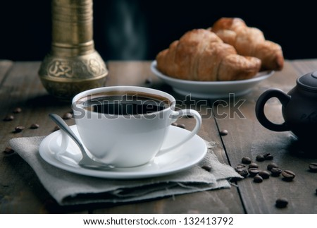 fresh breakfast with coffee - stock photo