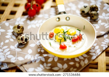 Fresh Breakfast with fried eggs pan. Close up view. Selective focus. - stock photo