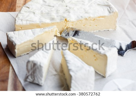 Fresh Brie cheese and slices - stock photo