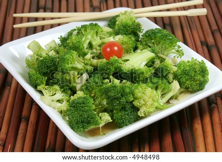 Fresh broccoli cooked and ready to serve.