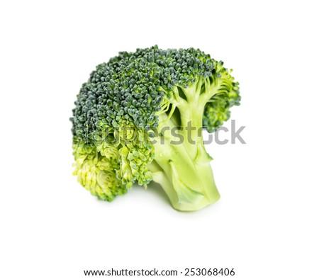 Fresh broccoli isolated on white background, close-up. - stock photo