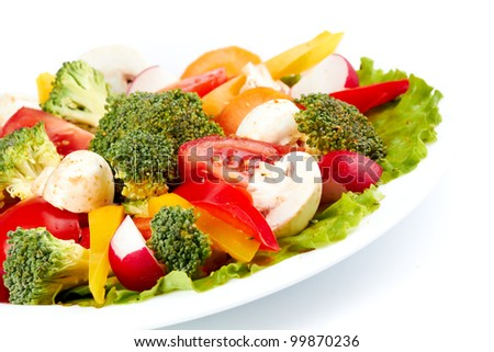 Fresh Broccoli Salad isolated on a white backgound - stock photo