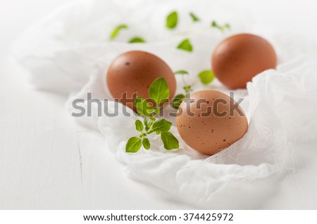 Fresh brown eggs with twigs of oregano on white cheesecloth. Selective focus.  - stock photo