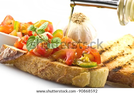 fresh bruschetta with tomato ,olive oil ,garlic and oregano - stock photo