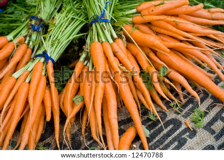 Fresh Bunches of Carrots at Farmers Market - stock photo