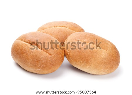 Fresh buns isolated on the white background