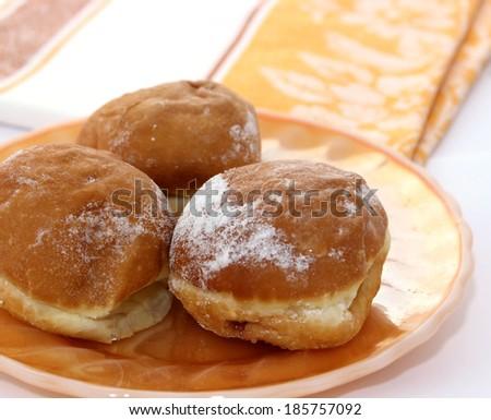 fresh buns on plate - stock photo