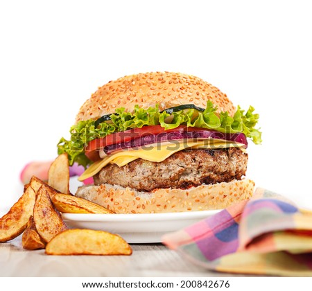 Fresh burger fast lunch  meal on table