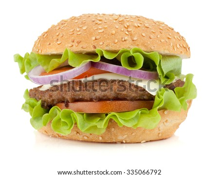 Fresh burger. Isolated on white background
