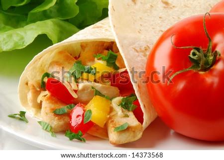 Fresh burrito with chicken - stock photo