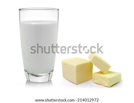 Fresh butter and milk isolated on white background - stock photo