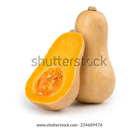 Fresh butternut squash isolated on a white background - stock photo