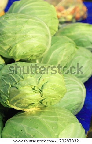 Fresh cabbage in the market.