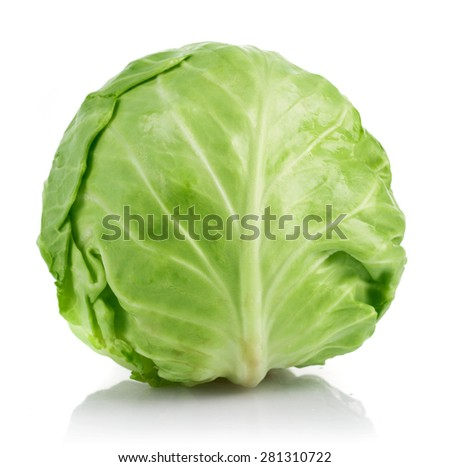Fresh cabbage ripe vegetable. Isolated on white background - stock photo