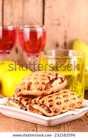 fresh cake with fruits and wine - stock photo