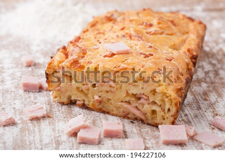 Fresh cake with ham - stock photo