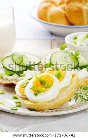 Fresh canapes with egg, cottage cheese, cucumber and herbs.