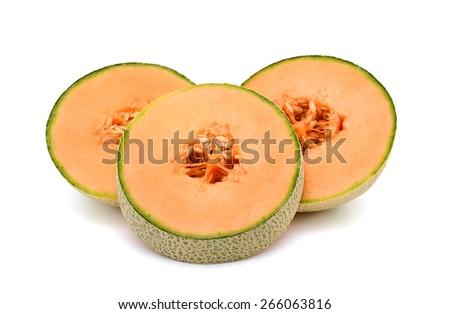 fresh cantaloupe melon sliced on white background  - stock photo
