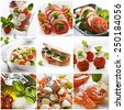 Fresh caprese collage made from nine photographs - stock photo