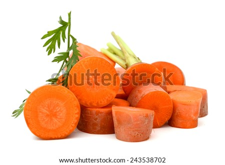 fresh carrot fruits with cut isolated on white background - stock photo