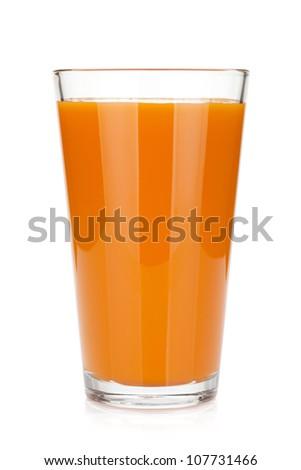 Fresh carrot juice glass. Isolated on white background - stock photo