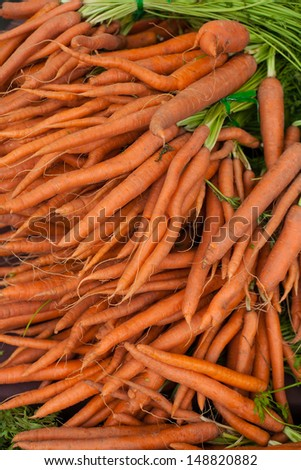 Fresh Carrots at Farm Stand - stock photo
