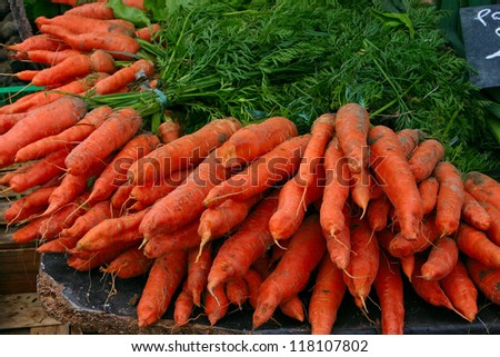 Fresh Carrots at the local market - stock photo
