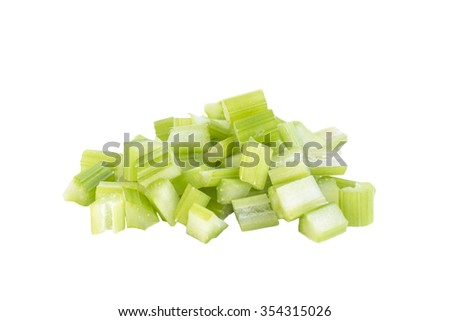 Fresh celery dice cut salad ingredient on white background - stock photo