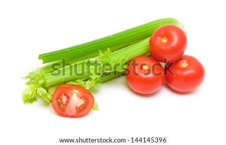 fresh celery green and ripe tomatoes isolated on white background - stock photo