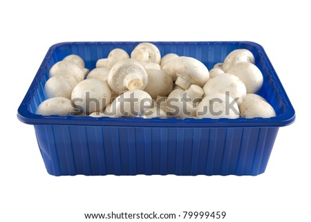 Fresh champignion mushrooms in a blue box - stock photo