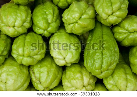 Fresh Chayote vegetables - stock photo
