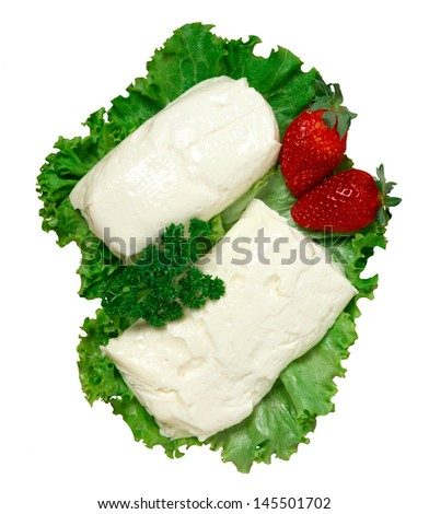 Fresh cheese, stracchino - stock photo