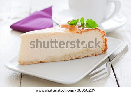 fresh cheesecake on a plate with mint - stock photo