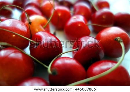 fresh cherries tasty snack - stock photo