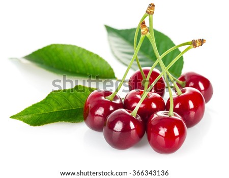 Fresh cherries with green leaves. Isolated on white background - stock photo
