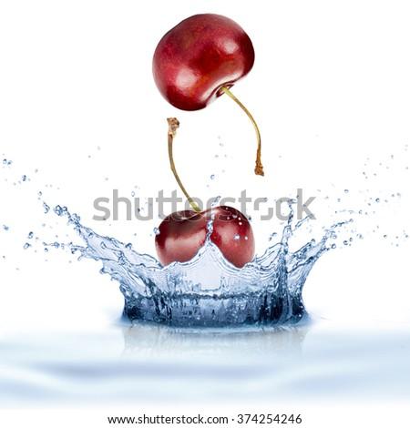 Fresh Cherry Fruit With Water Splash - stock photo