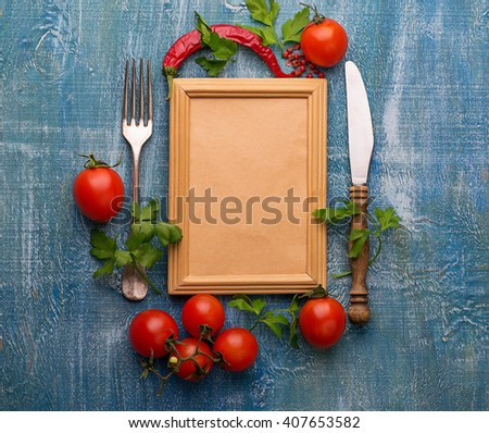 Fresh cherry tomato, parsley and frame for text. Selective focus, top view - stock photo