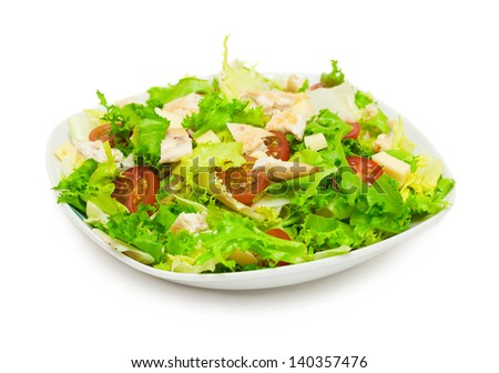 fresh chicken salad isolated on white background - stock photo