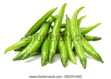 fresh chili on white background - stock photo