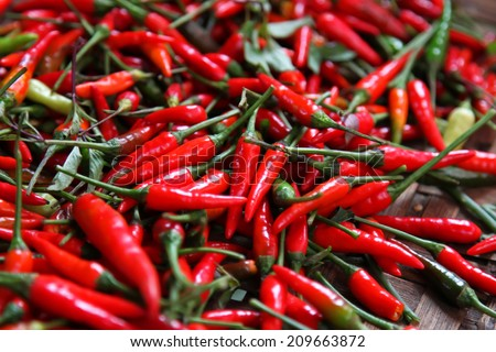 Fresh chilli peppers  - stock photo