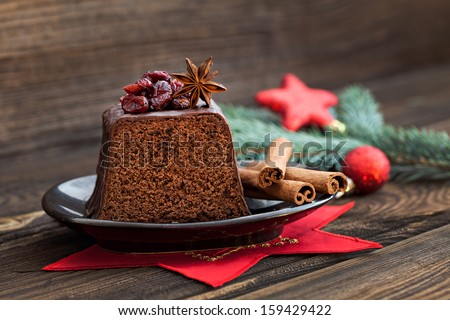 fresh chocolate cake for christmas - stock photo