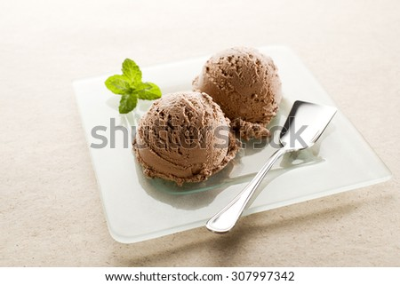 Fresh Chocolate ice cream on a plate close up