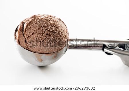 Fresh chocolate ice cream scoop close up. - stock photo