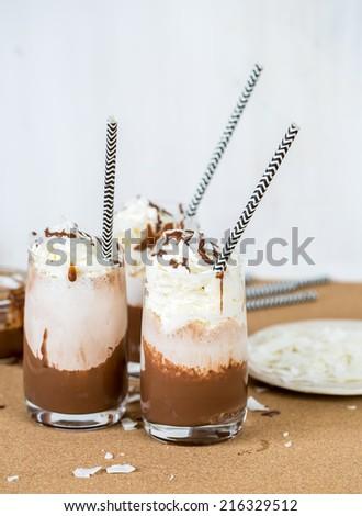 Fresh chocolate milk shake close up shoot - stock photo