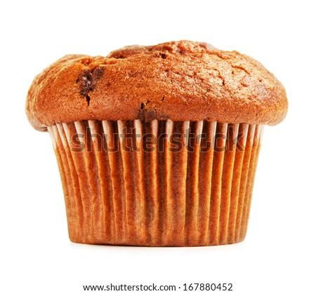 fresh chocolate muffin, isolated on white background - stock photo
