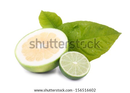 Fresh citrus fruit with a halved juicy lemon and lime with their tangy acidic pulp rich in vitamin c used as a flavoring and garnish in cooking, resting on fresh green leaves - stock photo