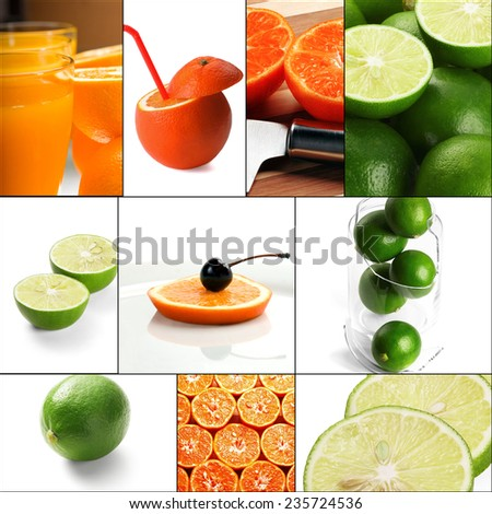 fresh citrus fruits collage composition nested on a square frame - stock photo