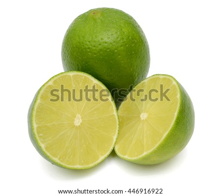 fresh Citrus lime fruit with half isolated on white background